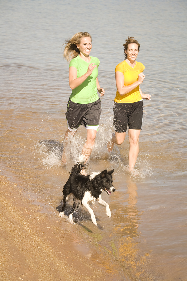 bigstock Woman And Dog In Water Running 6156815